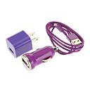 Автомобильное зарядное устройство и США Подключите USB-зарядное устройство для iPhone 5 с 3 в 1 USB 2.0 кабель (1M) (фиолетовый)