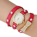 Women's Chain Pattern Gold  Dial  Butterfly PU Band  Quartz Analog Wrist Watch with Rhinestone (Assorted Colors)