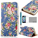 COCO FUN® Rose Blue Pattern PU Leather Full Body Case with Film, Stand and Stylus for iPhone 5/5S