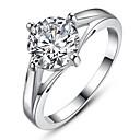 Ms Plating Platinum Inlay Zircon Ring