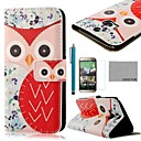 COCO FUN® Red Flower Owl Pattern PU Leather Full Body Case with Screen Protector, Stylus and Stand for HTC One M8