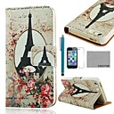 COCO FUN® Rose Eiffel Tower Pattern PU Leather Full Body Case with Film, Stand and Stylus for iPhone 5/5S