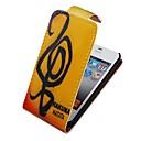 Музыкальная нота вверх-вниз Переверните PU Кожаный чехол всего тела для iPhone 4 / 4S