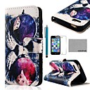 COCO FUN® Glasses Cat Pattern PU Leather Full Body Case with Film, Stand and Stylus for iPhone 5/5S