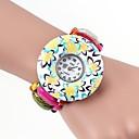 Flower Pattern Colorful Band Metallic Bracelet Watch(1pc)