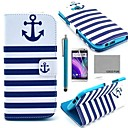COCO FUN® Navy Blue Anchor Pattern PU Leather Full Body Case with Screen Protector, Stylus and Stand for HTC One M8