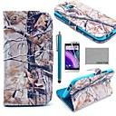 COCO FUN® Grey Branch Pattern PU Leather Full Body Case with Screen Protector, Stylus and Stand for HTC One M8