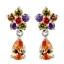 Earring Flower Drop Earrings Jewelry Wedding / Party / Daily / Casual Crystal 2pcs Red / Purple / Champagne