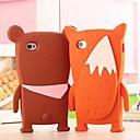 3D мультфильм Медведь Shadow Pattern силиконовой резины чехол для iPhone 4 / 4S (разных цветов)