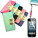 Красочные цветочный узор PU кожаный чехол с карты памяти с Стилус и Защитная пленка для iPhone 6 (разных цветов)