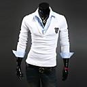 Мужские тонкий вскользь V шеи Вышивка Поддельные два футболки