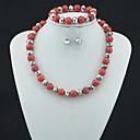 Toonykelly Fahionable Красный Бирюзовый бисера со стеклом (ожерелье и браслет и серьги) комплект ювелирных изделий