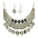 Vintage Exotic Hollow Резные кисти ожерелье капли серьги комплект ювелирных изделий