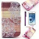 Мандала цветок рисунок древесины PU кожаный чехол с защитой экрана и Стилус для Samsung Galaxy S3 Mini I8190