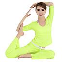 OUDIKE Женская Весна Лето полиэстер Зеленый Micro-эластичный с длинным рукавом Йога костюм-тройку с пусковой площадки бюстгальтера