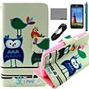 COCO FUN Bird Сова Pattern PU кожаный чехол для всего тела с защитой экрана и USB-кабель и стилус для LG L80