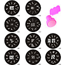Fashion A Series 10PCS Nail Art Image Stamp Plate + Stamper Scraper