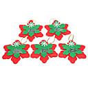 Рождественские красный снег Shaped хлопок орнамент 5PCS