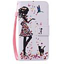 Mujer y gato cordón pintado de la caja del teléfono de la PU para Huawei P9 / p9lite