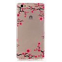 Transparent Colored Plum Branch Pattern TPU Soft Case Phone Case For Huawei P8 Lite