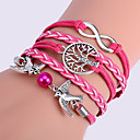 Women's Multilayer Alloy Love Birds Tree and Infinity Handmade Leather Bracelet