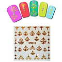 1sheet  Gold Nail Stickers XF6013