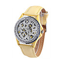 Men's Fashion Watch Quartz Genuine Leather Band Casual White Brown
