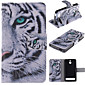 White Tiger Design PU Leather Full Body Case with Stand and Protective Film for Sony Xperia E1