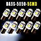 10pcs BA9S 5 SMD Xenon White LED Light Bulb Lamp T4W Q65B 1445 H6W 182 53 57