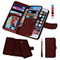 Magnetic 2 in 1 Wallet Leather+9 Card Holder+Cash Slot+Photo Frame Case for iPhone 6s 6 Plus